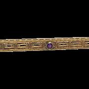 14K Amethyst Fleur-de-lis Turn of Century Bar Pin