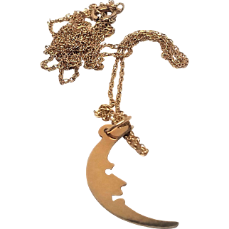 14K Man in the Moon Pendant Charm and Chain