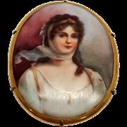 Antique Victorian Hand Painted Oval Porcelain Portrait Brooch 10K Gold  C Clasp