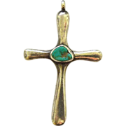 Old Pawn Sterling and Turquoise Cross Pendant