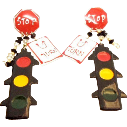 Awesome Funky 1980's Traffic Earrings Stop,U Turn , Lights! Pierced earrings