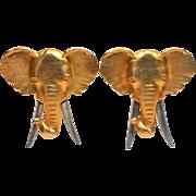 JJ Elephant Earring-Gold Tone-