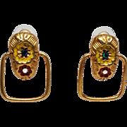 Vintage Don Lin 1980's Modernist pierced Earrings