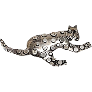 Wonderful Sterling 925 Modernist Kitty Cat Pin Brooch