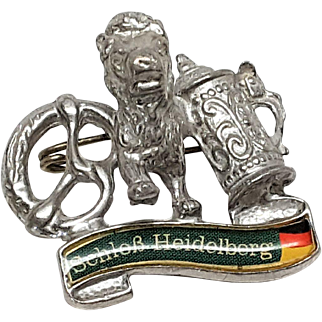 Schlob Heidelberg pin signed Pronter Schack brooch