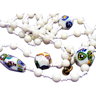 Vintage Milk Glass and Millefiori Murano Venetian  Bead Necklace