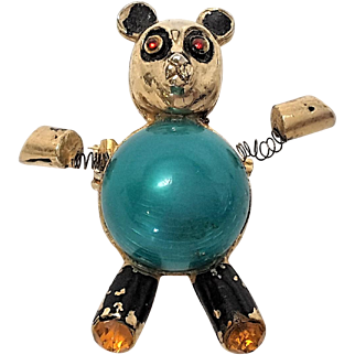 Wonderful Jelly Belly TREMBLER Bear with Rhinestones brooch pin