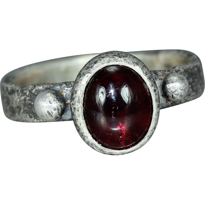 Garnet Sterling Silver Womans Organic Statement Rustic Silver Ring