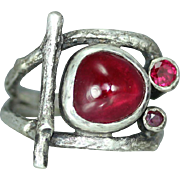 Three Ruby Sterling Silver Twig Organic Rustic Woman's Statement Ring