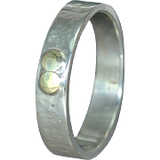 14K Gold Sterling Silver Wedding Casual Wear Mans Womans Organic Unique  Band Ring