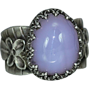 Holly Blue Agate Sterling Silver Statement Organic Woman's Ring