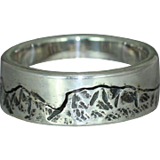 A Sterling Silver Wedding Organic Alternative Unique Casual Wear Mans Mountain Band Ring