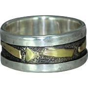 14K Gold Sterling Silver Wedding Casual Wear Mans Rustic Unique Organic Unique  Band Ring