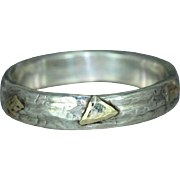 Sterling Silver 14K Gold Wedding Casual Wear Mans Womans Organic Unique  Band Ring
