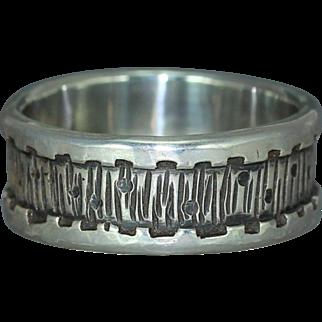 Sterling Silver  Wedding Band Mans Organic Custom Unique Rustic Alternative Casual Wear Band Ring