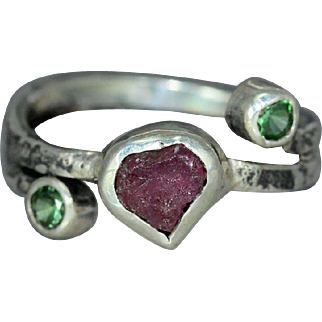 Ruby CZ Sterling Silver Textured Organic Unique Statement Custom Hand Made Womans Ring