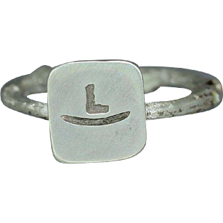Western Initial Sterling Silver Western Style Womans Brand Organic Rustic Statement Unique Ring Band
