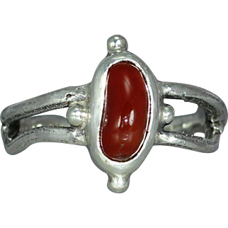 Agate  Sterling Silver Organic Twig Rustic Statement Unique Womans Mans Ring