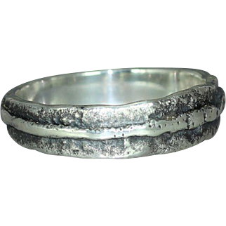 Mans Womans Wedding Unique Alternative Custom Organic Rustic Unisex Textured  Patterned Sterling Silver Ring