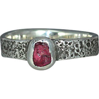 Uncut ruby Raw Ruby Sterling Silver Engagement Womans Alternative Organic Rustic Unique Band Ring