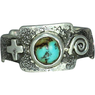 Turquoise Sterling Silver South West Style Mans Organic Rustic Unique Alternative Band Ring