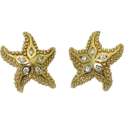 14k Star Fish Earrings with Diamonds