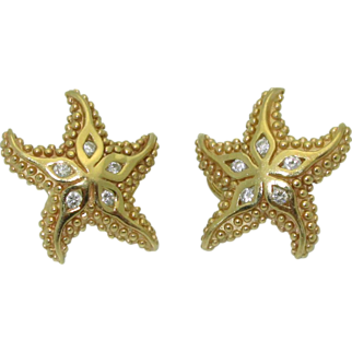14K Star Fish Earrings with Diamonds