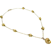 Antique  14k Natural Seed Pearl Shell Necklace