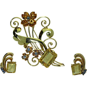 Retro 14K Citrine & Montana Sapphire Brooch/Earring Set
