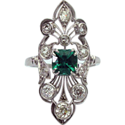 Antique 1920's Emerald & Diamond Platinum Ring