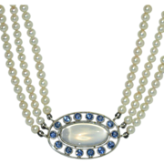 Rare Antique Platinum, Moonstone, Yogo Sapphire Necklace