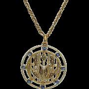 Antique 14K Edwardian Sapphire Pendant