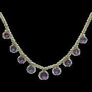 Antique Amethyst Fringe Necklace 9 Karat Gold