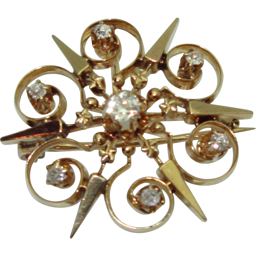 Antique 14K Diamond Star or Snowflake Pendant/Brooch
