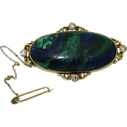 Stunning Antique 14K Azure-malachite brooch