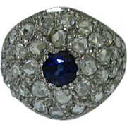 Antique Sapphire & Rose Diamond Platinum Ring