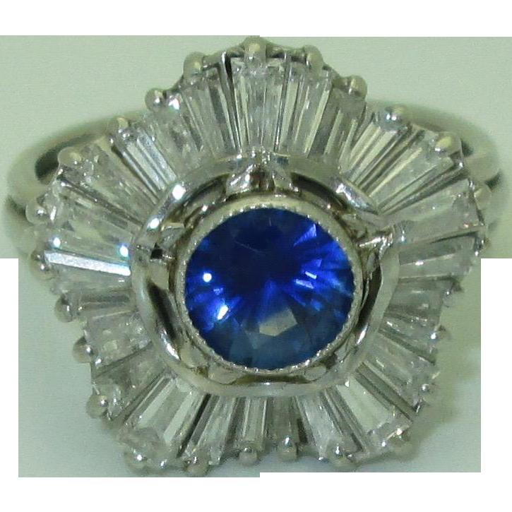 Vintage Sapphire & Diamond Platinum Ballerina Ring