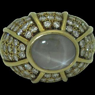 Vintage 18K Star Sapphire Diamond Dome Ring