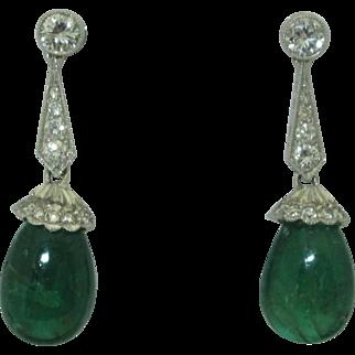 Vintage Platinum Emerald Diamond Earrings