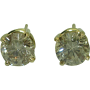 Gorgeous 18K Yellow Gold Light Brown Diamond Studs 2.15ctw