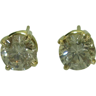 Gorgeous 18K Yellow Gold Light Brown Diamond Studs 2.15ctw