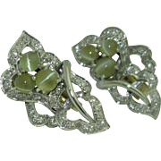 Platinum Diamond Cat's Eye Chrysoberyl Earrings