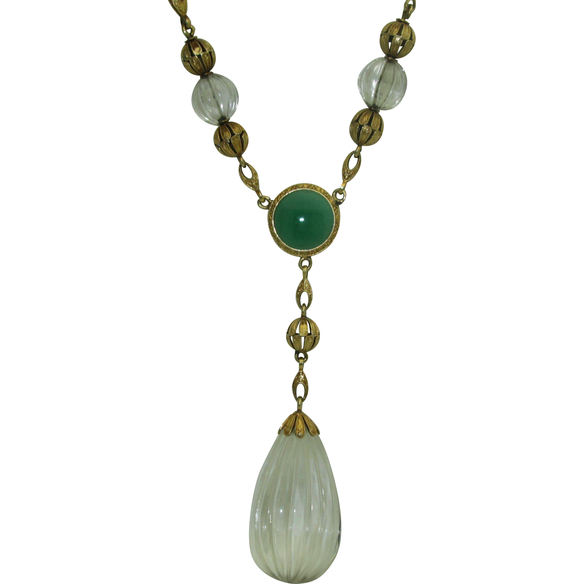 Rare 1930's Krementz 14k Rock Crystal, Chrysoprase Necklace