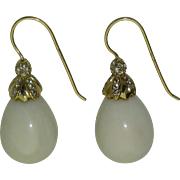 18K White Coral Earrings signed Mish NY