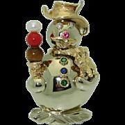 14K Handmade Snowman Brooch