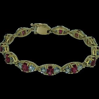 Vintage 14k Rubellite & Aquamarine Bracelet