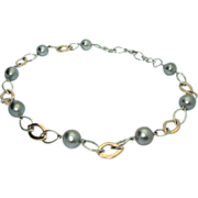 Cultured Baroque Gray Pearls in 18K Two Tone Gold