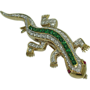 18K Gecko Pin with Diamonds and Tsavorite Garnets