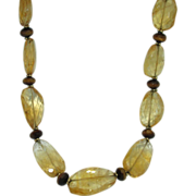 14K Gold Citrine & Tiger's Eye Necklace