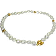 Lovely Cultured Freshwater Pearl Necklace with 14K Sea Shells